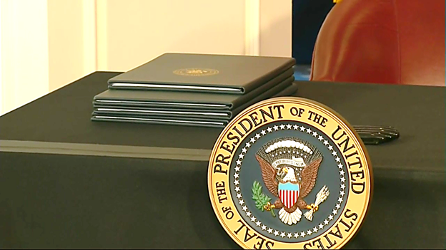 Four Executive Orders await the president's signature at his NJ golf club news conference.