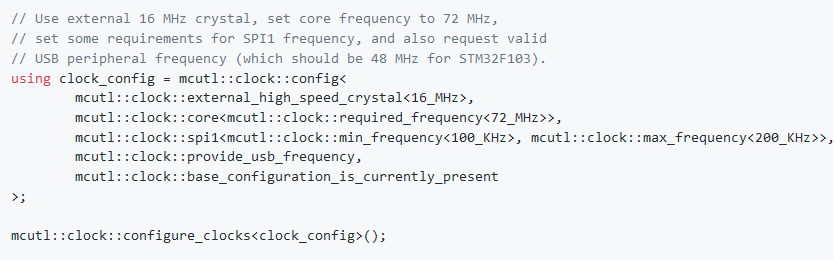 Working on a hobby C++17 header-only template MCU library: https://github.com/dragon-dreamer/mcutl …. Here's a nice example. The library calculates the whole clock tree at compile time and generates the shortest and fastest code. #MCU #STM32 #microcontroller pic.twitter.com/IwnXzR505h