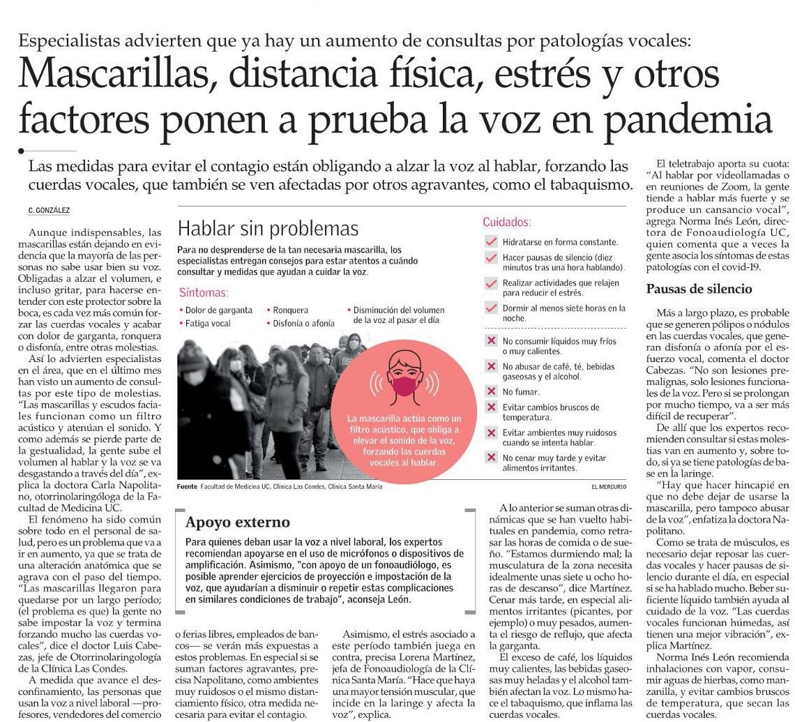 El Dr. Luis Cabezas, jefe de Otorrinolaringología de @cliniclascondes, explicó en @ElMercurio_cl el aumento de consultas de patologías vocales por el uso de mascarillas.  Mira la nota acá: https://t.co/CKL0sBpZXY
