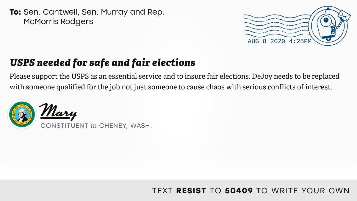 """📬 I delivered """"USPS needed for safe and fair elections"""" from Mary, a constituent in Cheney, Wash., to @SenatorCantwell, @PattyMurray and @CathyMcMorris #WA05 #waelex #SaveThePostOffice  📝 Write your own: https://t.co/z5540KFSKD https://t.co/9MXjiGvlJv"""