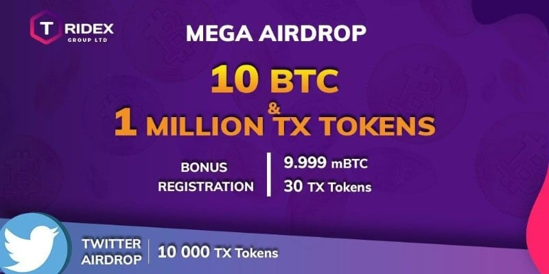 #Airdrop: Tridex Airdrop Estimated value:4$ Referral: No Rate: (5/5)   Social media tasks 10 #BTC & 1 million TX Token pool   E-mail, Social media    Claim your Airdrop:  https://freecoins24.io/tridex/   #Airdrops #Giveaway #Crypto #Freemoney #Bounty #Tradingpic.twitter.com/kb82Jl0319