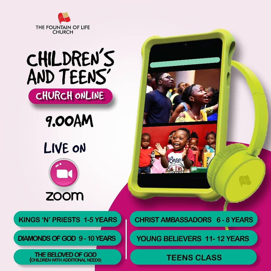 Hey parents!  Have you set up a  for your children to participate in the Children's + Teens' Church online?  This Sunday, God has a special word for everyone of them.  #SundayService #ChildrensChurch #TeensChurch #JoinUs #OnlineService #ANewSong #FountainOfLife #TFOLCpic.twitter.com/o7DP9rc57B