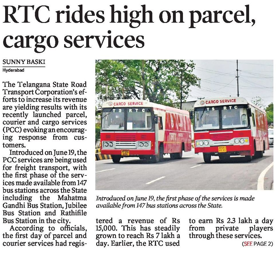 TSRTC rides high on parcel, cargo services  From a collection of Rs 15,000 on June 19 when it was launched, the RTC is now registering a daily revenue of Rs.7 lakh a day from its parcel and courier service @KTRTRS @TelanganaCMO #Telangana #KCRpic.twitter.com/PzOSyrlErc