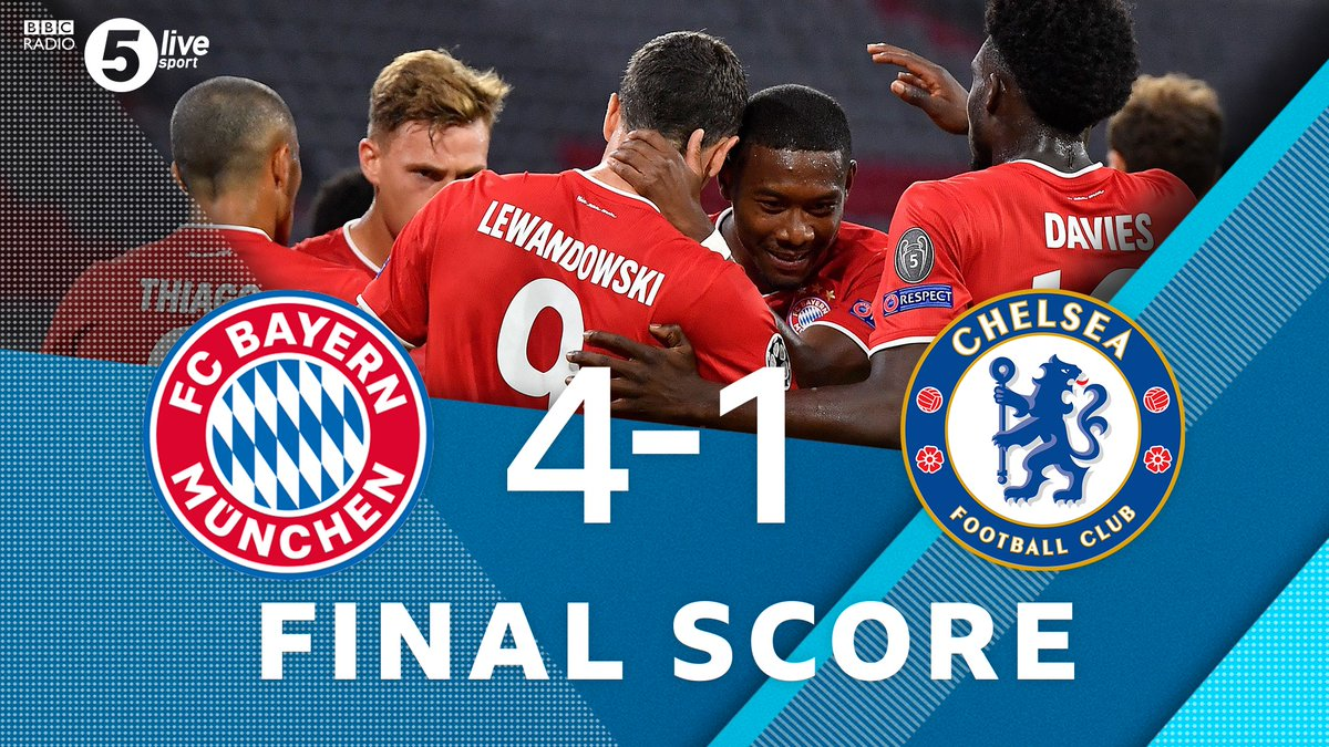 "FT  🔴 Bayern Munich 4-1 Chelsea 🔵 (agg 7-1)  Dominant display from Bayern Munich - they stroll through to the last eight 💪  ""It's a convincing win"" - @Robert1Green   Join us on @BBCSounds 📲📻: https://t.co/5Du5Yilmm1 #UCL #BAYCHE https://t.co/6gpu5Cg1CL"