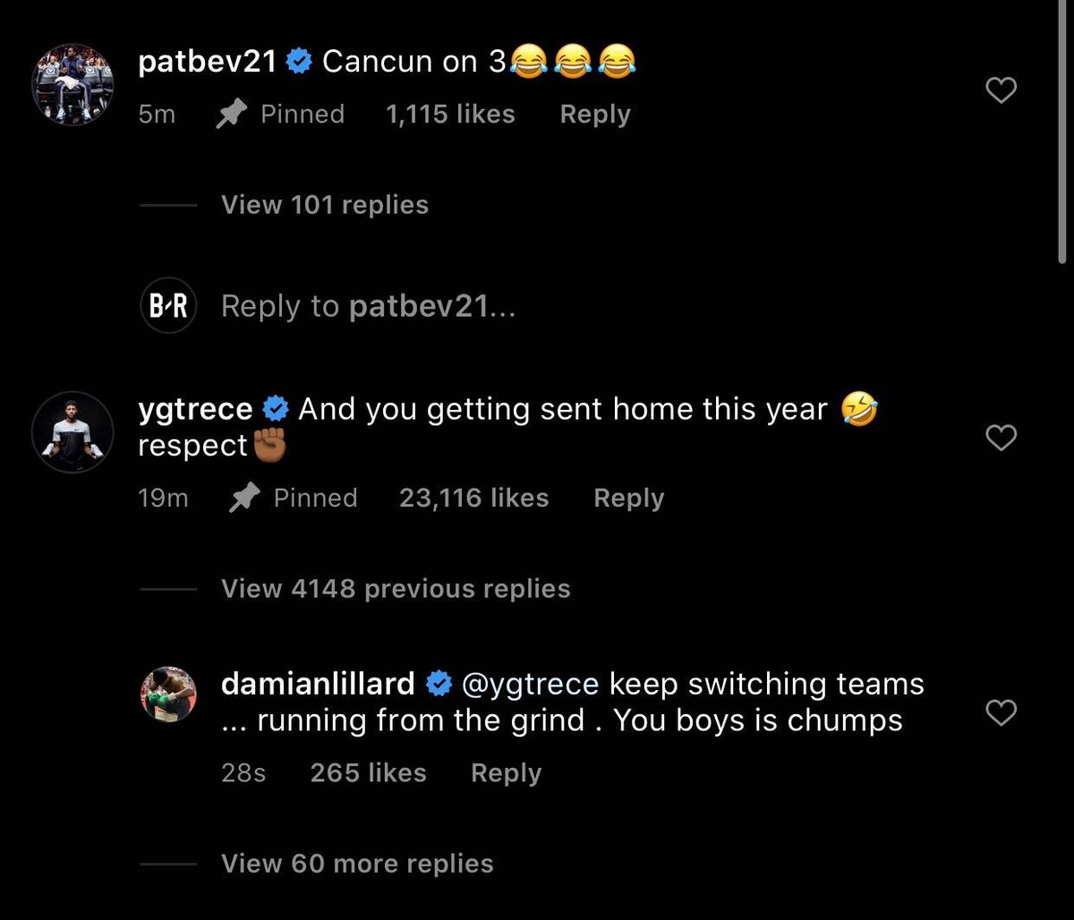 Dame responds to PG and Pat Bev 👀