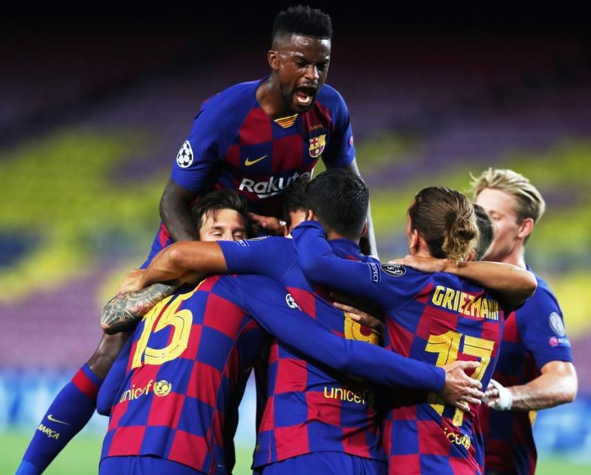 Los jugadores del Barcelona celebran el gol de Lenglet (Foto: FCB).