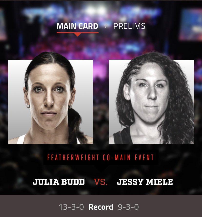 Bellator 244 FRI AUG 21 MAIN CARD  Women's Featherweight Bout @JuliaBudd faces @jessymiele #Bellator244 #juliabudd #jessymiele #wmma #mma https://t.co/zhroycjKo9