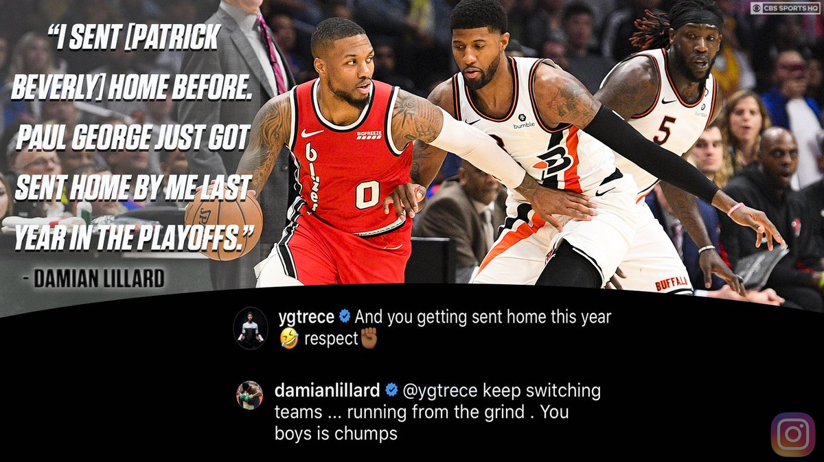Cbs Sports Hq On Twitter Damian Lillard To Paul George Keep Switching Teams Running From The Grind You Boys Is Chumps This Is Getting Good Https T Co Rgvxbmi5o1