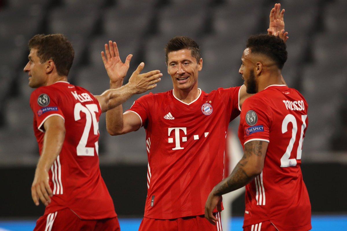 """Thomas Müller's tweet - """"Next round ✔️ 4:1 win against ..."""