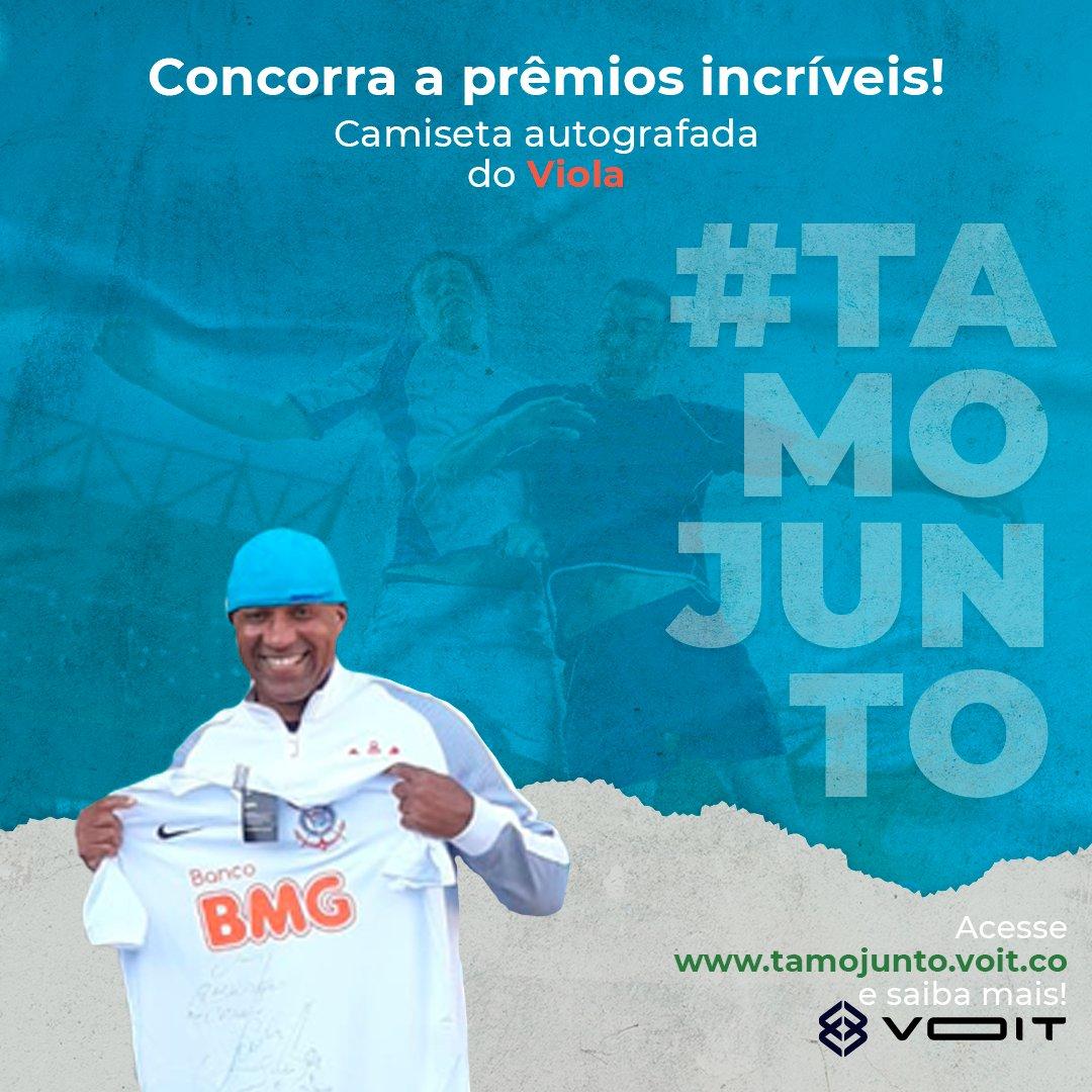 Participe da campanha #TamoJunto com a gente e concorra a uma camiseta exclusiva do Corinthians autografada pelo @viola_v9. Assine e participe do sorteio pelo link da Bio.   #atletas #esporte #fazerobem #beneficente #sorteio #corinthias #viola https://t.co/XN6dAZyudh