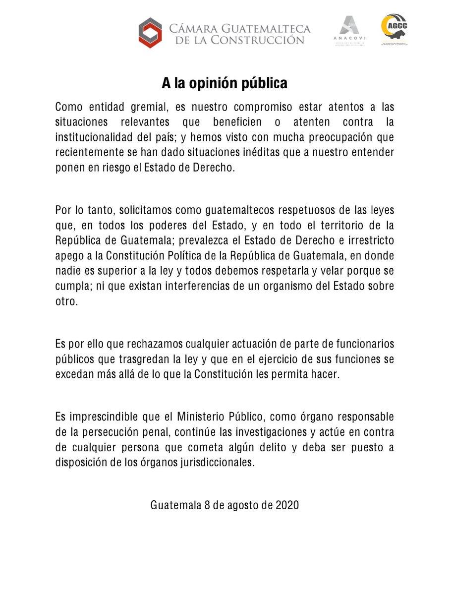 test Twitter Media - La Cámara Guatemalteca de la Construcción emite un comunicado donde solicita a los guatemaltecos ser respetuosos de las leyes y refiere que es imprescindible que el MP,  responsable de la persecución penal, continúe con las investigación. https://t.co/f5SM7fUzvO