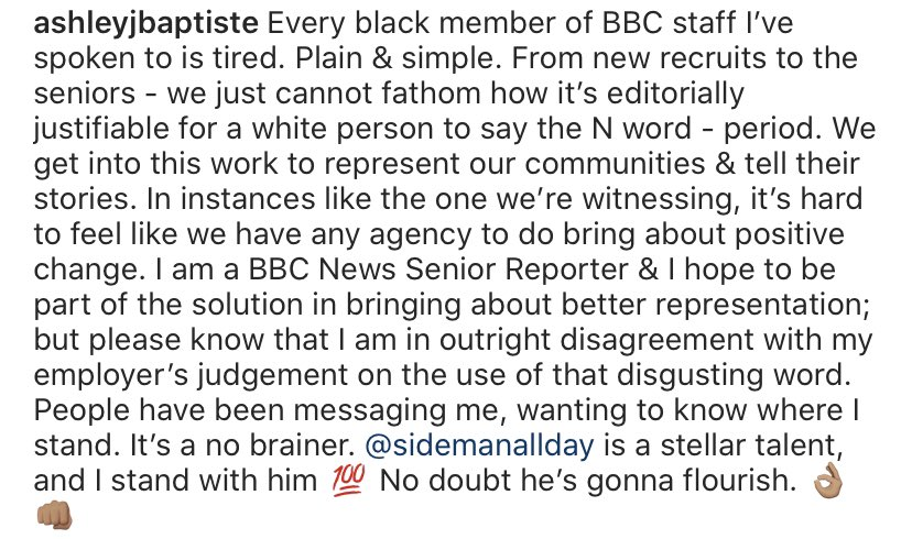 As a BBC News reporter I've had friends & followers ask me whether I think it's ok that a white person said the N word on air. For the sake of not having to answer that question again - pls read here: