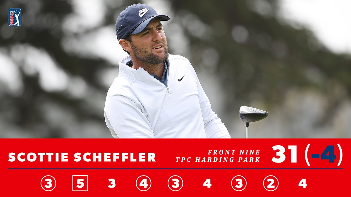 5 birdies on the front nine. Scottie Scheffler is one shot off the lead at the PGA Championship.