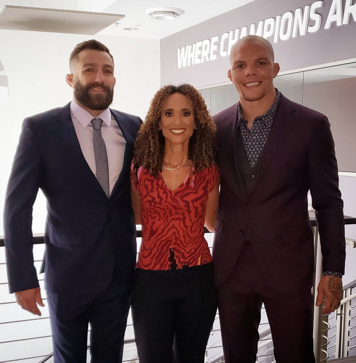 Psyched to be working the @espnmma desk with these two badasses! Hope you can join me, @lionheartasmith, @mikemav22 and @meganolivi for the #UFCVegas6 post show on #ESPNPlus right after the main event! 👊👊👊 #UFC #MMA https://t.co/lFV07xdEFv