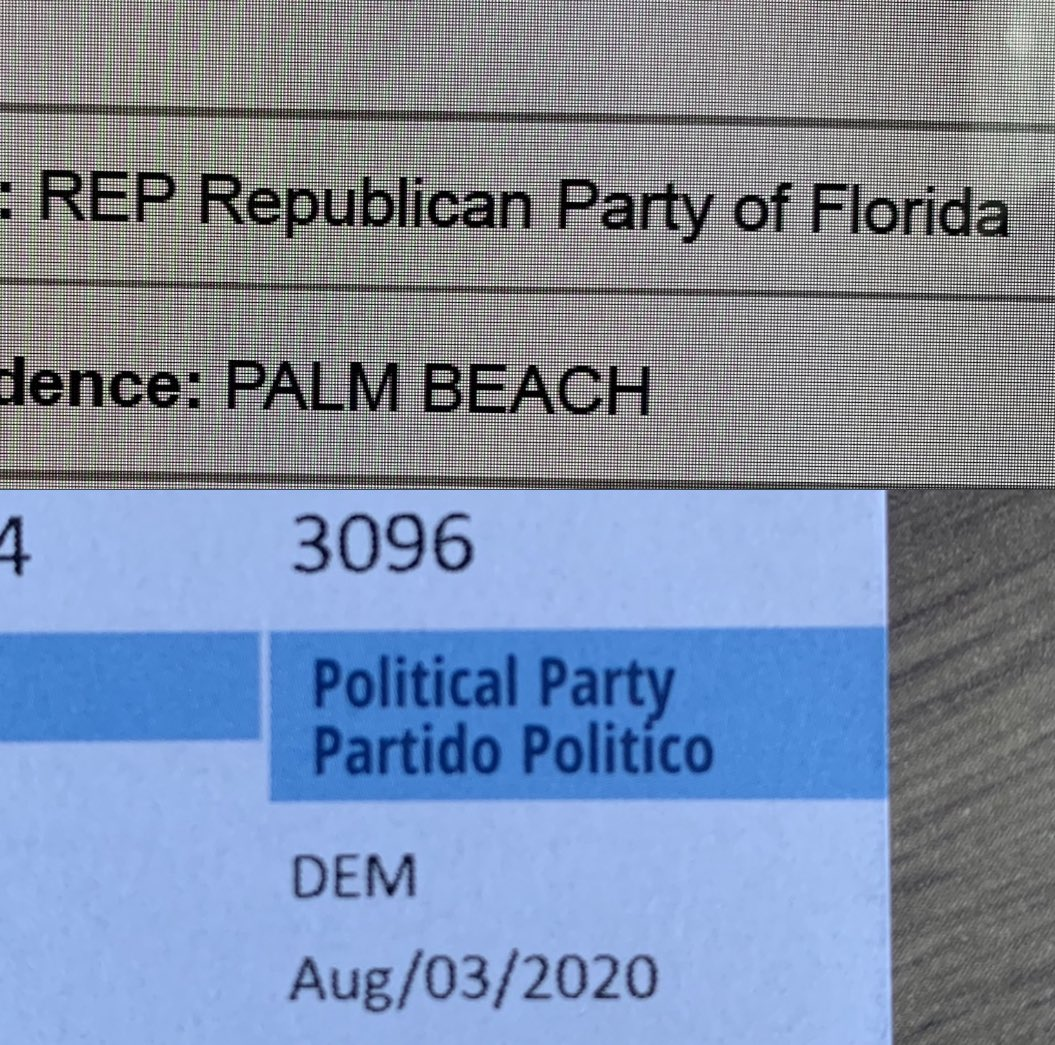 On 07/29/2020 requesed replacement of my voter card in order to change political party from DEMOCRAT TO REPUBLICAN to @pbcelections they send me a new card without any change, what I need to do in order to fix this on time? @realDonaldTrump @GOP #HispanicsForTrump pic.twitter.com/Cx4VU9DCnU