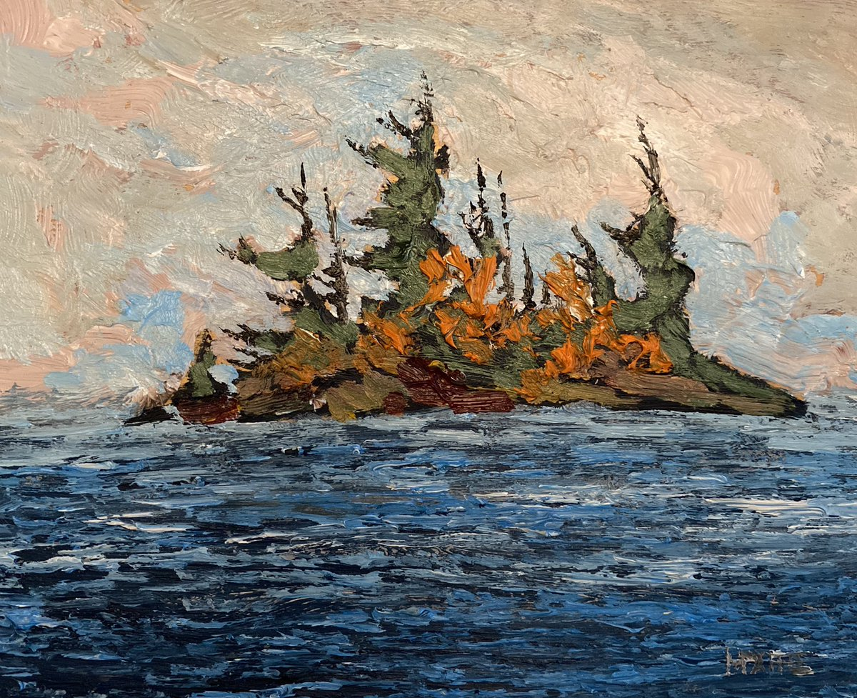 """Rock Island  8""""x10"""" oil on birch panel. Now available #island #oilpainting #rocks pic.twitter.com/PQI1kRCI5y"""