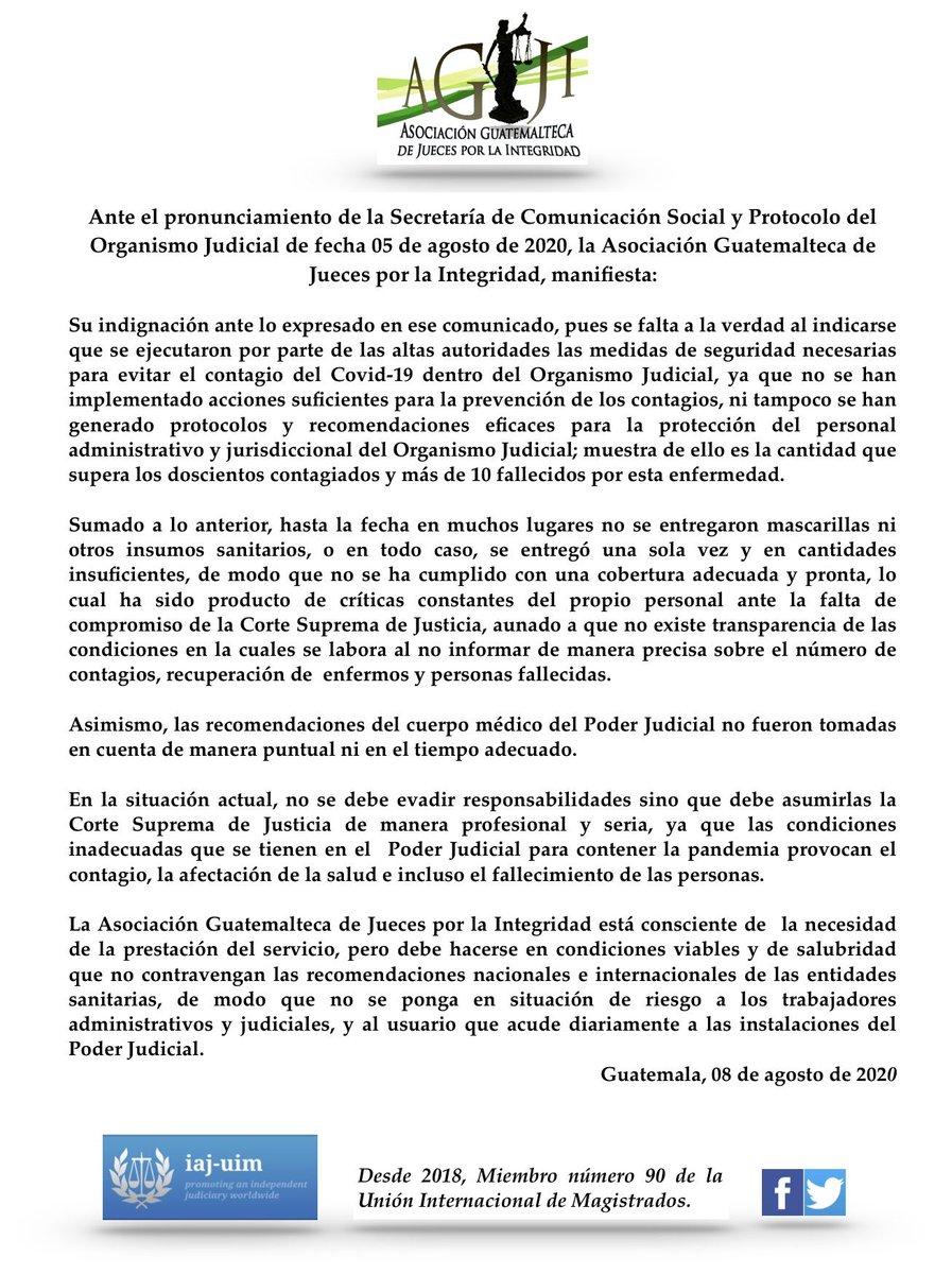 test Twitter Media - La Asociación Guatemalteca de Jueces por la Integridad emite un comunicado donde expresa que no se han implementado acciones suficientes para la prevención de contagios del Covid-19 dentro del OJ, ni tampoco se han generado protocolos para la protección del personal. https://t.co/QVagRsRFcc