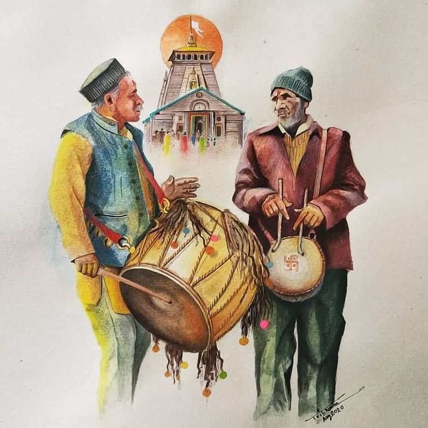 Uttarakhand folk music instruments. #dholdamaunpic.twitter.com/JpZ2Drjupd
