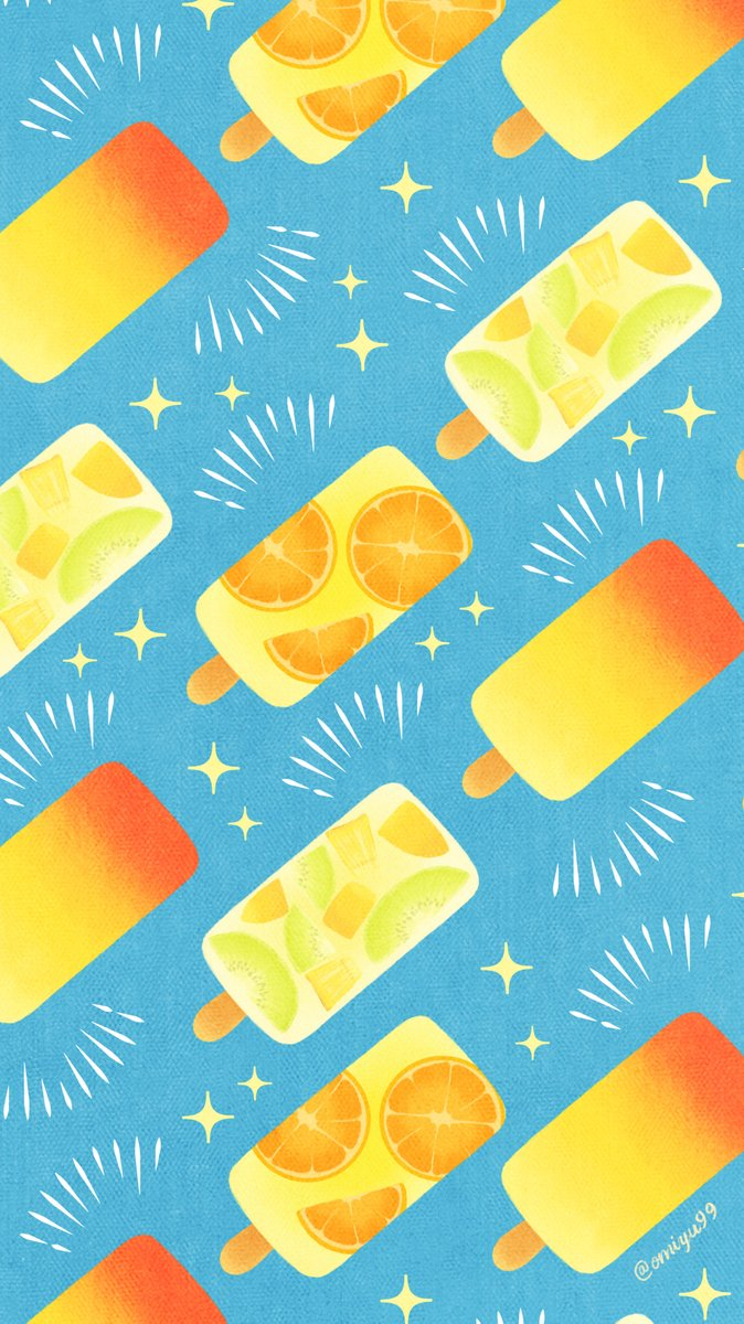 Omiyu お返事遅くなります トロピカルアイスな壁紙 Illust Illustration 壁紙 イラスト Iphone壁紙 アイス Icecream 食べ物