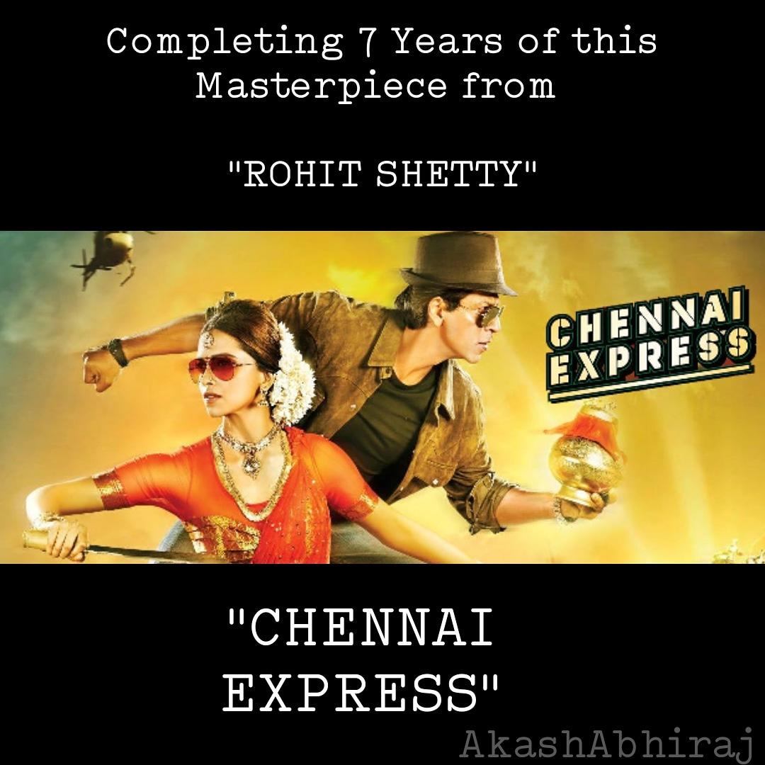 7 years of this #Action #Comedy  Film.  #ChennaiExpress  Directed by:- #RohitShetty  Story by:- #ksubhash  Screenplay by:- #YunusSajawal  Starring:- #ShahrukhKhan                 #DeepikaPadukone                 #NikitinDheer   #ChennaiExpress  #AkashAbhiraj https://t.co/Yfs3A5vmnQ