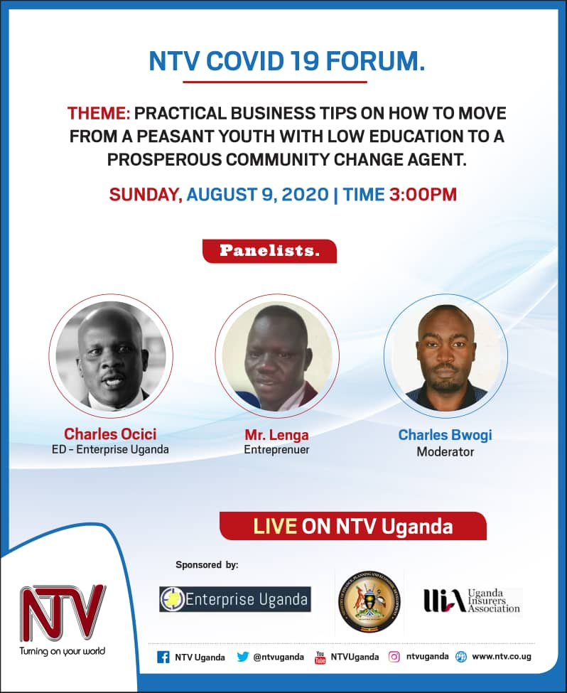 PRACTICAL BUSINESS TIPS ON HOW TO MOVE FROM A PEASANT YOUTH WITH LOW EDUCATION TO A PROSPEROUS COMMUNITY CHANGE AGENT. DON'T MISS TODAY ON NTV LIVE AT 3:00PM #ntvmonenyandmarkets #renatedmedia #NTVNews #enterpriseugandapic.twitter.com/nHX4PC0Yx2