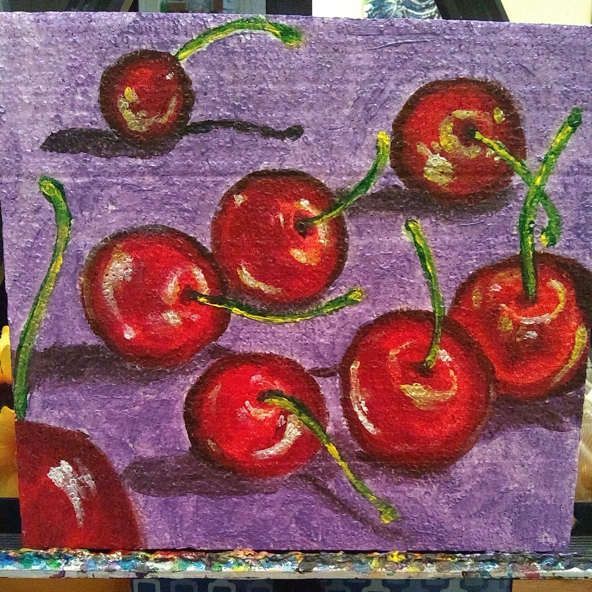 """#paintings #acrylicpainting #cherries #cherryart #cherrypaintings #fruitart #fruitpaintings  Created this little painting of some cherries today. Love how it turned out.  """"Cherries"""" Acrylic paint on recycled foam.pic.twitter.com/yVxVZxy37d"""