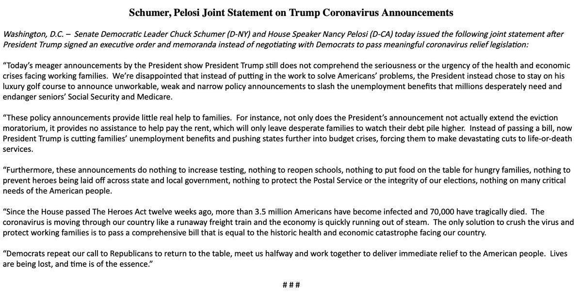 Instead of putting in the work to solve Americans' problems, Pres. Trump chose to stay on his golf course to announce unworkable, weak & narrow policy announcements to slash the unemployment benefits that millions desperately need and endanger seniors' Social Security & Medicare https://t.co/QNwu3HEcbi