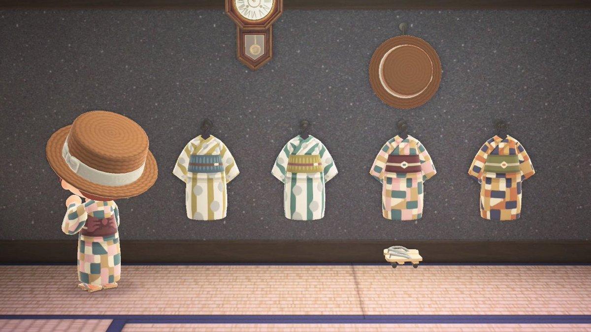/👘レトロな浴衣、できました。\花火大会でぜひ着てみてください!作者ID:MA-6265-3990-0665#どうぶつの森 #あつ森 #あつ森マイデザイン #ACNHDesign #マイデザ #マイデザイン #mydesign #ACNH #浴衣 #花火大会