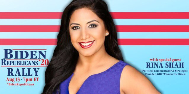 """Rina Shah on Twitter: """"As a lifelong Republican, I am proud to support @JoeBiden for President. This election is about decency, the rule of law, and the kind of America we want"""