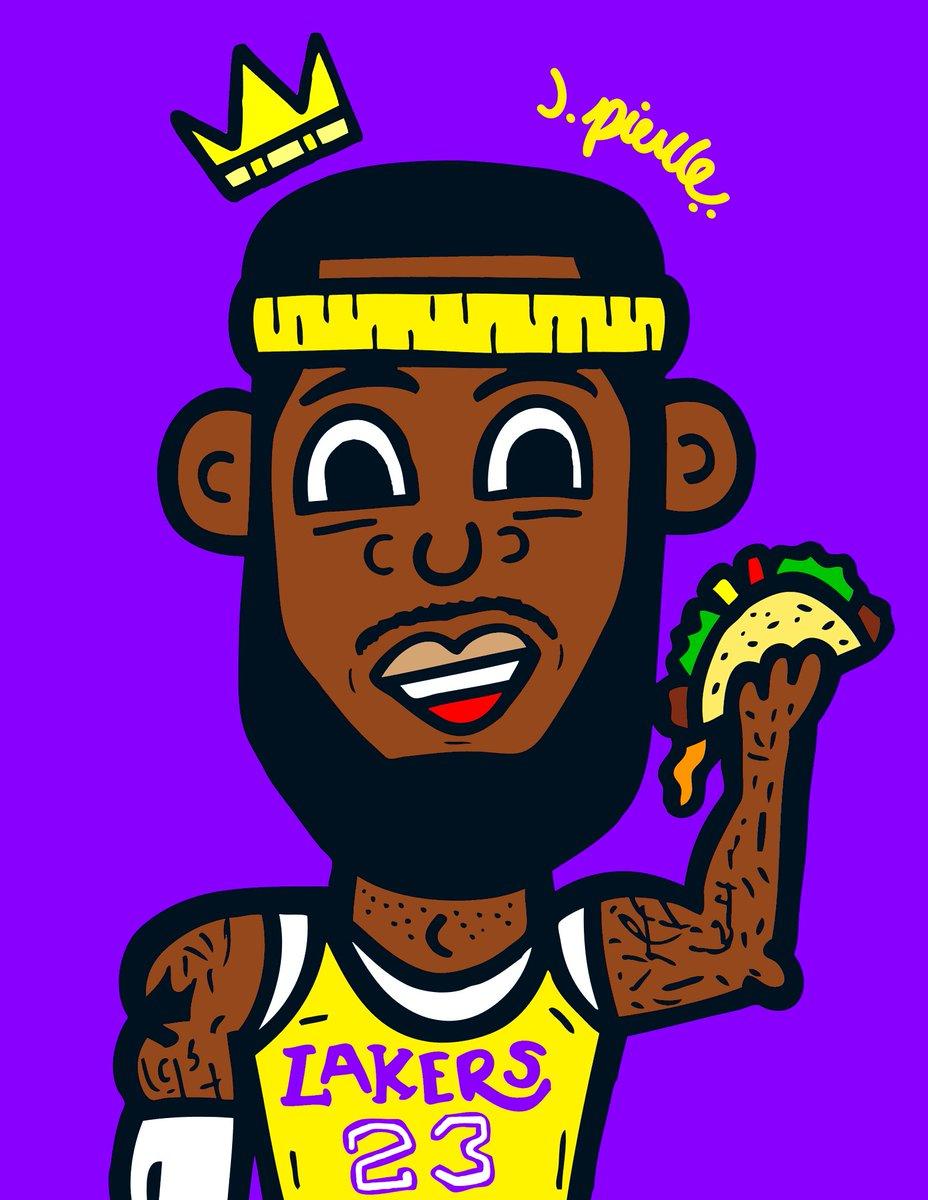 ". J. Pierce x @KingJames ""It's taco tuuuueeeessssssdaayyyyyyyy"" #jpierce #LeBronJames #lebron #kingjames #itstacotuesday #tacos #tacoseveryday #lakers #losangeleslakers #bron #thekidfromAkron #artbyjpierce #deisgner #artist #iamjpiercepic.twitter.com/DUWRsy1QvH"