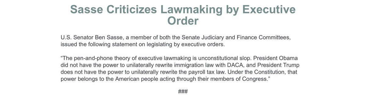 """GOP Sen. Ben Sasse (Neb.) says Trump is violating the Constitution:   """"President Trump does not have the power to unilaterally rewrite the payroll tax law. Under the Constitution, that power belongs to the American people acting through their members of Congress."""" https://t.co/6voOJSMNzs"""