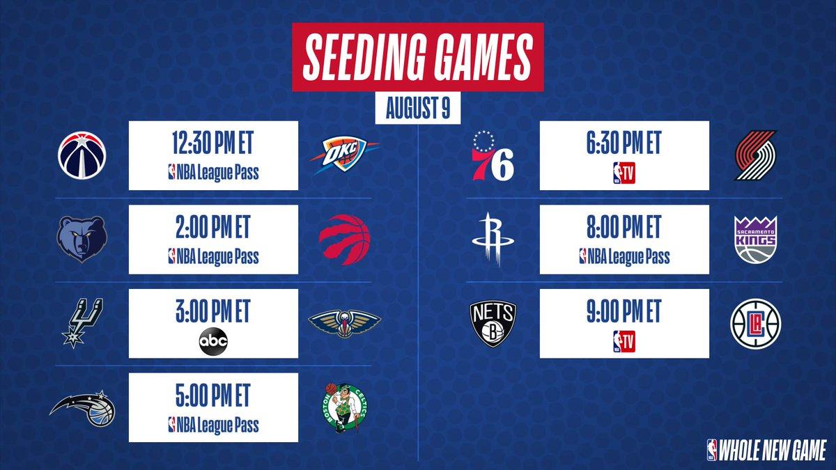 FREE Streaming: https://t.co/zcW0bM7Q4x 😎  Thunder at Wizards Grizzlies vs. Raptors Spurs vs. Pelicans Magic vs. Celtics 76ers vs. Trail Blazers Rockets vs. Kings Nets vs. Clippers #NBA #NBATV https://t.co/GVYGEm8BZh