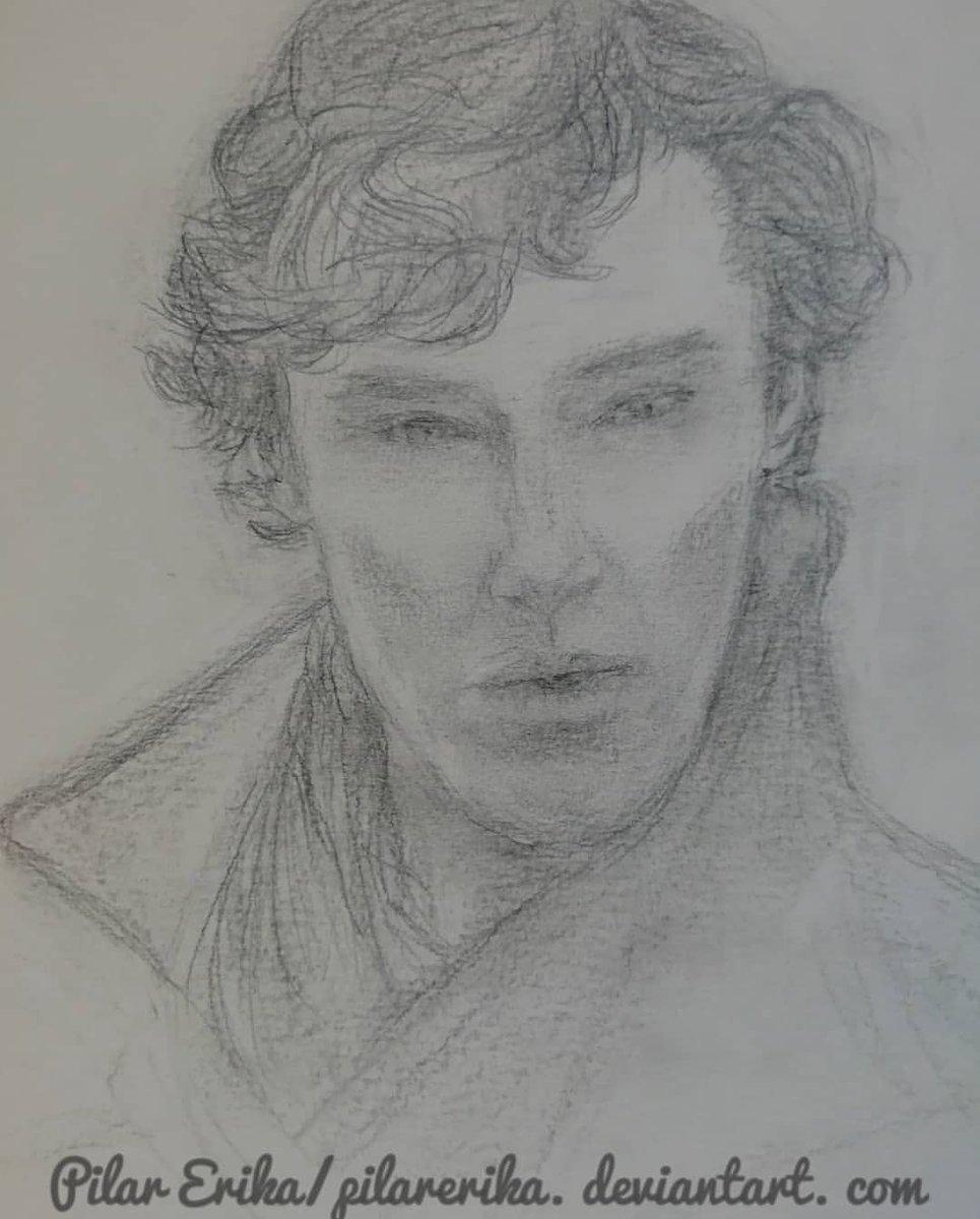 Sherlock sketch. I did enjoy drawing it #Sherlock #sherlockbbc #BenedictCumberbatch #charcoal #charcoalsketch #sketch #lovedrawing pic.twitter.com/SG99H3i0jR