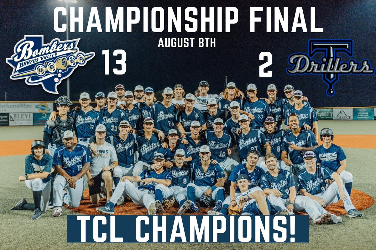 BOMBERS ARE THE TEXAS COLLEGIATE LEAGUE CHAMPIONS! After a season like no other, the Brazos Valley Bombers came out on top! A big THANK YOU to the fans, families, players, and staff that made it all happen! See y'all next season 💣 #BombsAway
