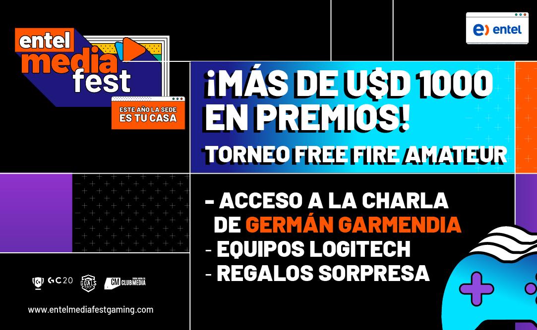 ¡Mira los premios que se llevarán los que ganen el desafío Free Fire Amateur! 1° Premio U$D 500 + 1 lugar en la charla de Germán Garmendia + 1 Kit Pro Periféricos Logitech.  2° Premio 1 Kit Pro Periféricos Logitech.  #EpisodioGaming  #EntelMediaFest  #ClubMedia