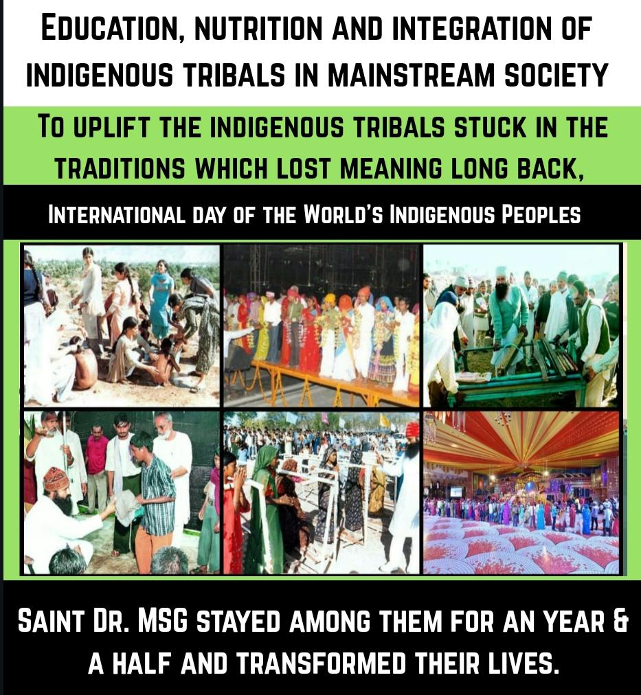 #विश्व_आदिवासी_दिवस Under the pious inspiration of  @Gurmeetramrahim ji insan , volunteers of @derasachasauda had helped the indigenous peoples. They help them in field of education,  nesseary facilities such as food , clothes , shelter and also help for uplift their life style. pic.twitter.com/PMFL91Bx3a