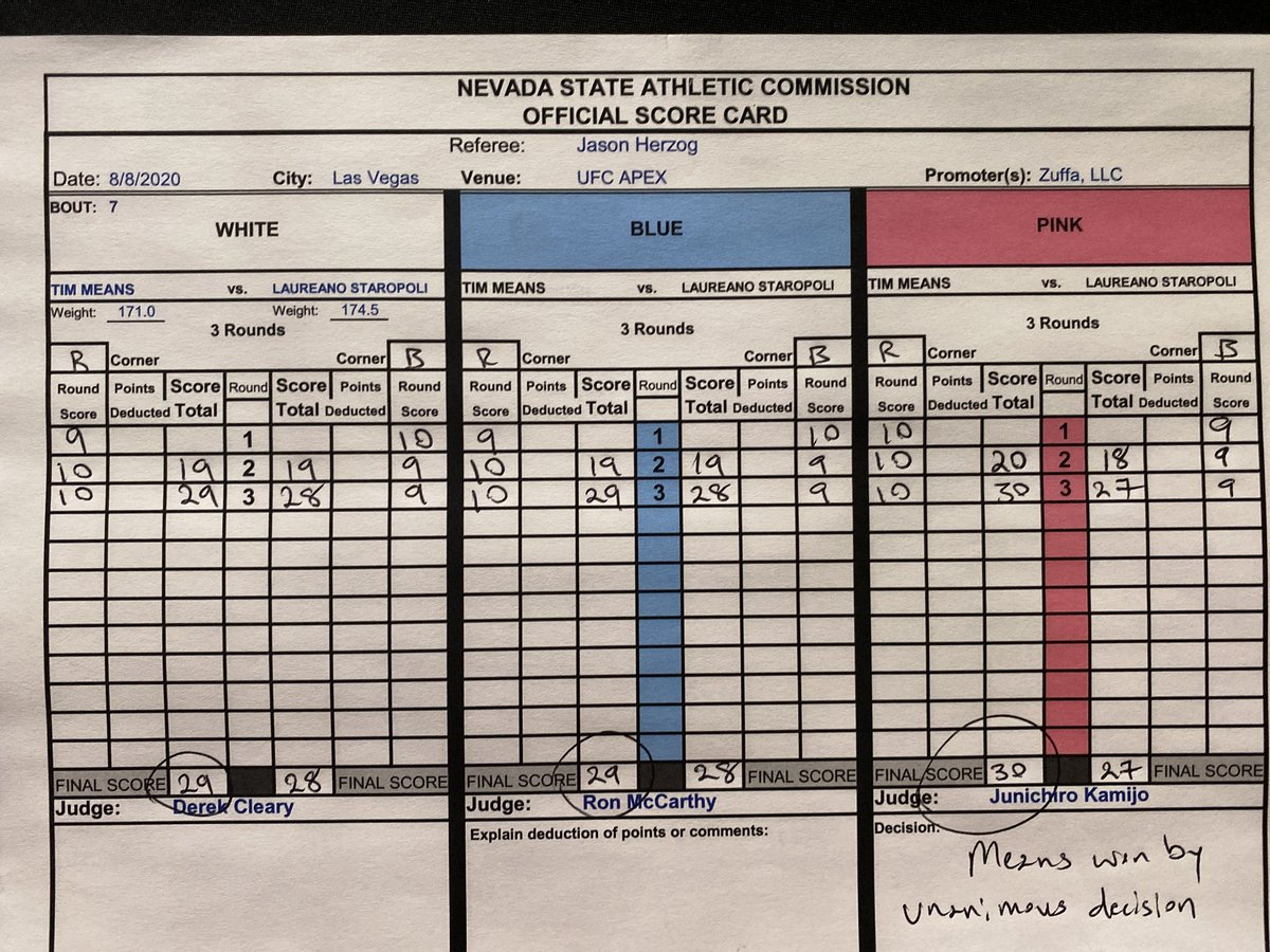 Tim Means scorecards. #mma #ufc #ufconespn #ufcfightnight #UFCVegas6 #ufcresultados https://t.co/9pz83s6tWF