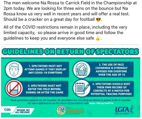 The Men face @NaRossa76 at 2pm today in Carrick Field - class day for it ☀️☀️☀️!