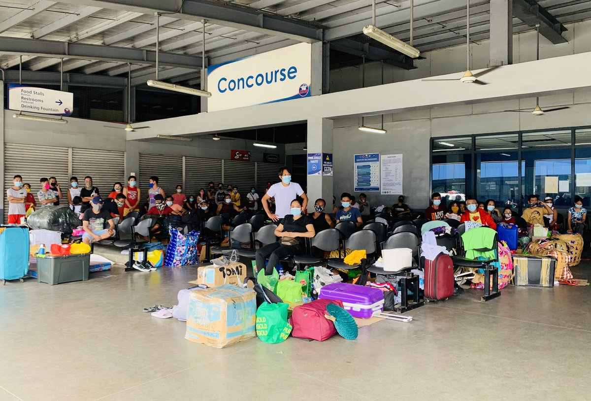 LOOK: Aside from the SMD Area, 131 stranded passengers are also staying at the Concourse Area and 49 more at the Arrivals Area of the North Port Passenger Terminal. Senior citizens and those traveling with children are given priority. @ABSCBNNews