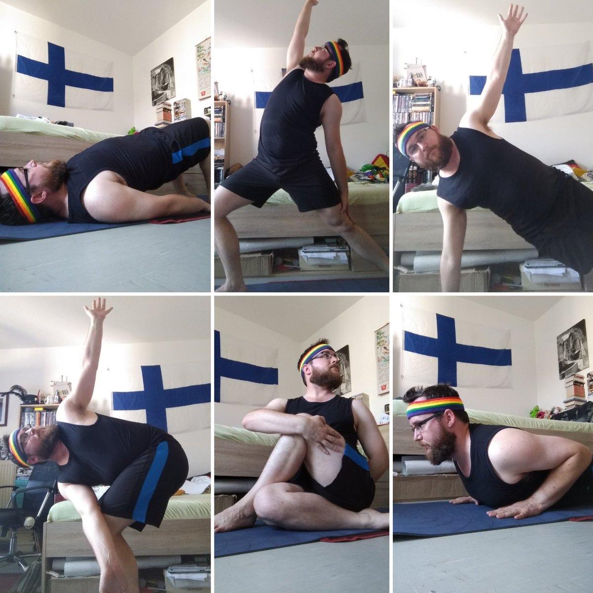 Good Morning! #Yoga before the heat outside also hits my home.  Namaste!  #asana #pose #sunrise #goodmorning #rainbow #sportyspice #spiceboy Motivation by @MelanieCmusic https://t.co/RxJbphb0v4