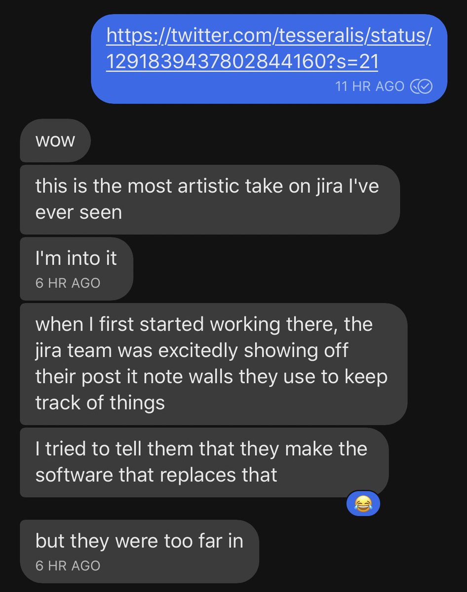 Screenshot of a txt conversation about Jira and how they use post-it notes for issue tracking / project planning Jira itself, instead of using Jira for Jira