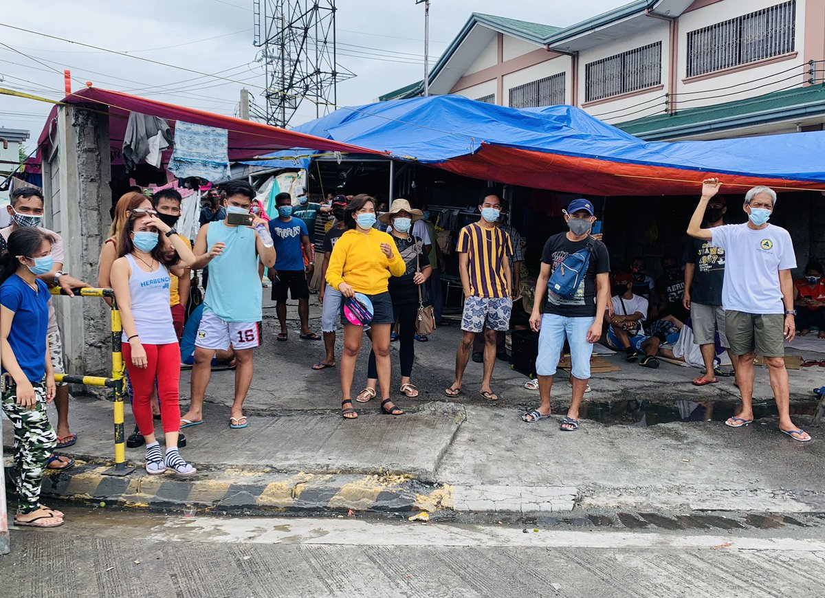 Nearly 100 stranded individuals seek shelter at a tent at the SMD Area of the North Port Passenger Terminal in Manila while they wait for boat trips to their home provinces. @ABSCBNNews
