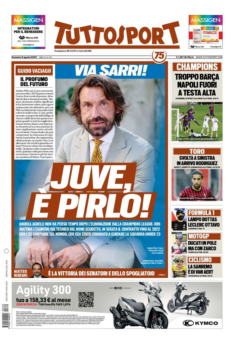 Front page of #Tuttosport  2020-08-09   #edicola #primapagina #Juventus #Inter #Milan #Roma #Napoli #Laziopic.twitter.com/3gNMHW2zbd
