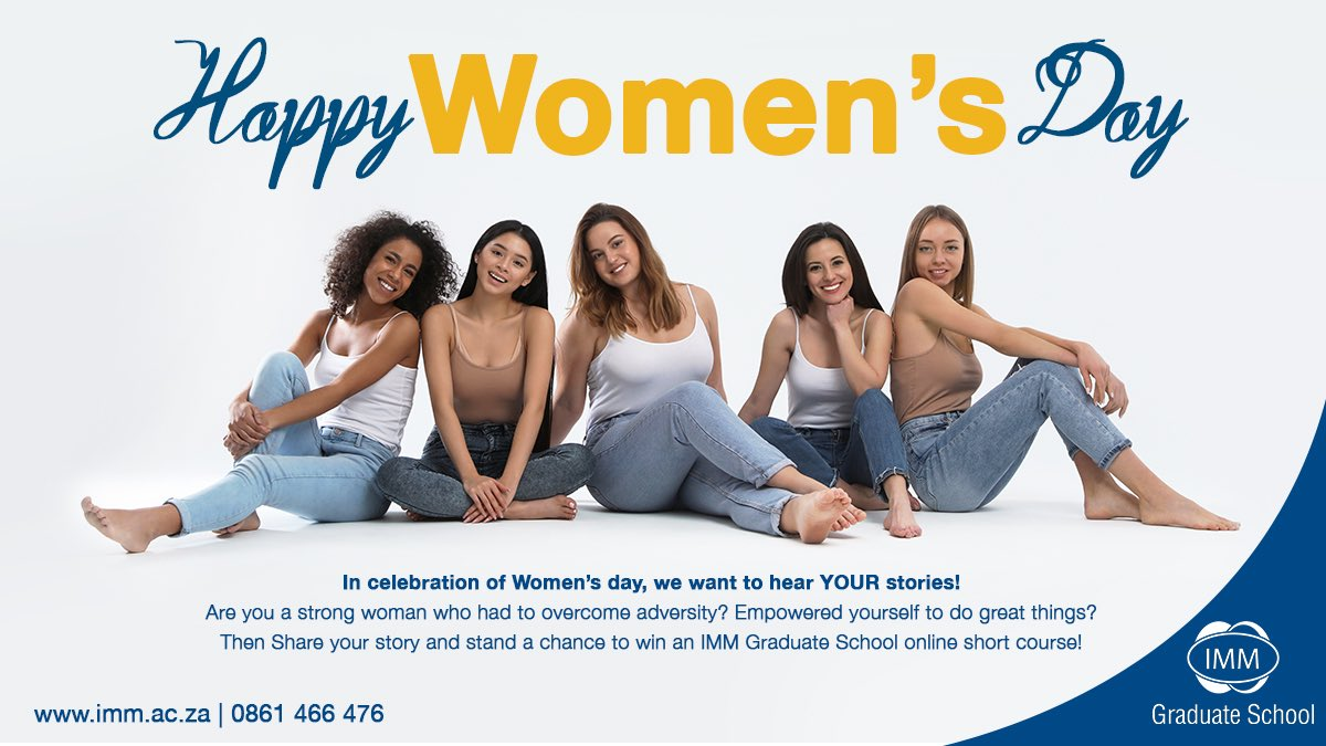 Happy Women's day!  Use this link to enter our women's day competition:  https://imm.ac.za/happy-womens-day/…  #IMMGraduateSchool #WomensDay2020 #womensday #Competition #shareyourstory #onlineshortcoursepic.twitter.com/PqSA47qDn5