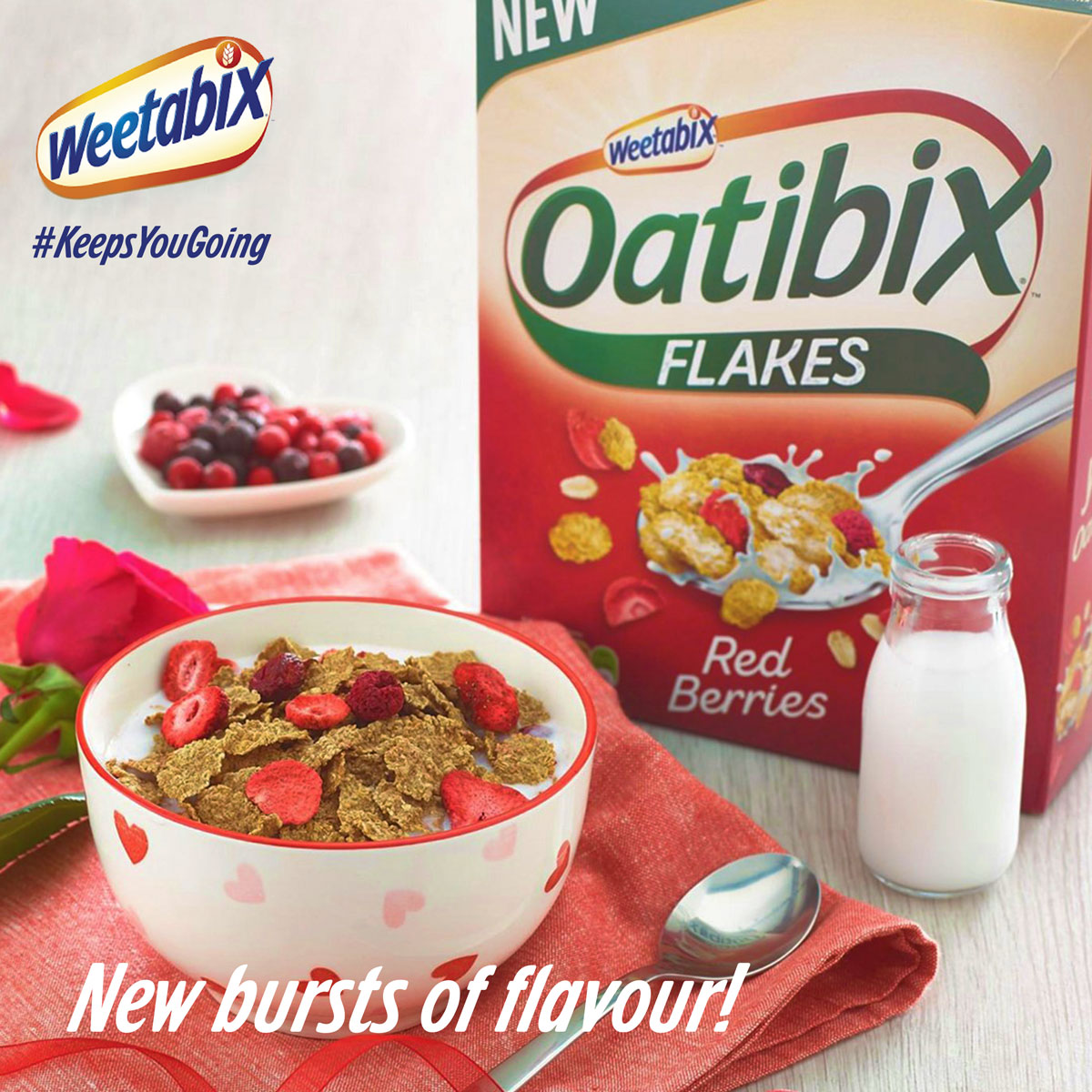 Do healthy the fun way! Introducing the new Oatibix Flakes Redberries; the sweet, zingy taste of raspberries, strawberries, and cherries will definitely have you craving for more! #KeepGoing https://t.co/1JqlyzI9bf