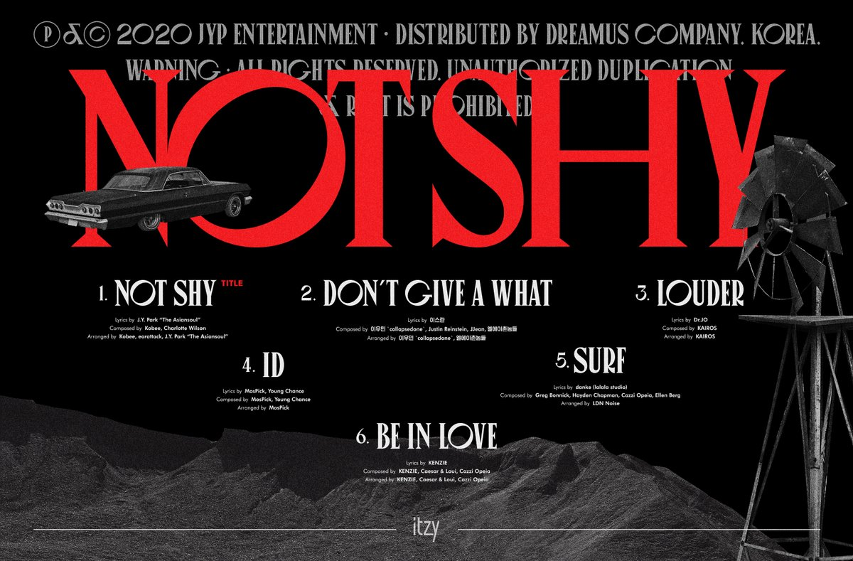 "ITZY <Not Shy> TRACK LIST  TITLE TRACK ""Not Shy""  2020.8.17 MON 6PM  #ITZY #있지 @ITZYofficial #MIDZY #믿지 #NotShy #ITZY_NotShy https://t.co/wA0dwY5VH0"