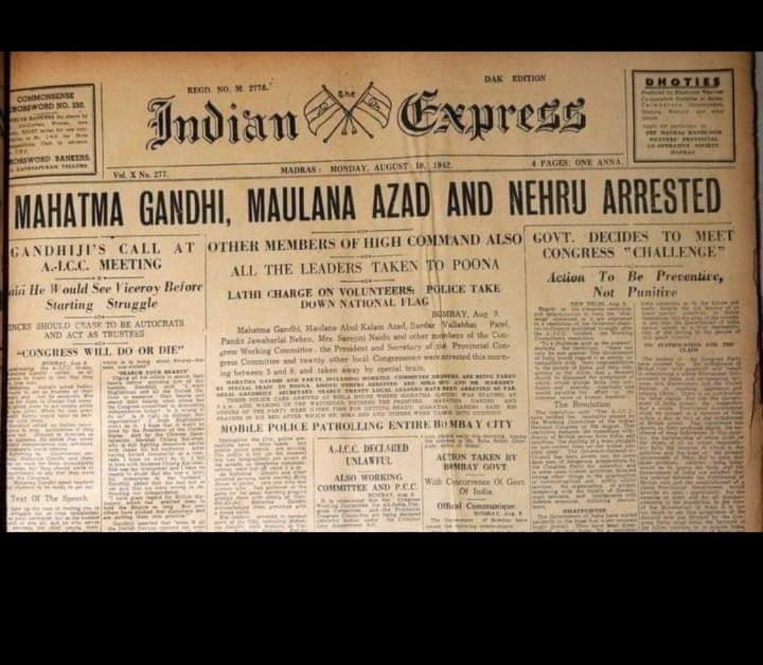 #QuitIndiaMoment #QuitIndiaMovementDay #Anniversary #DayZ #MOMENT #indiamoment #History #historyofindia #Gandhi #MahatmaGandhi #Nehrupic.twitter.com/QHGUVvWLy0