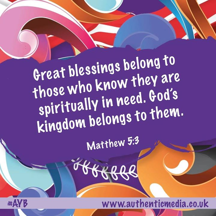 'Great blessings belong to those who know they are spiritually in need. God's kingdom belongs to them.' Matthew 5:3  #AYB #authenticyouthbible #youth #bible #youthbible #youngpeople #youthgroup #smallgroupspic.twitter.com/pBJwuS1KVD