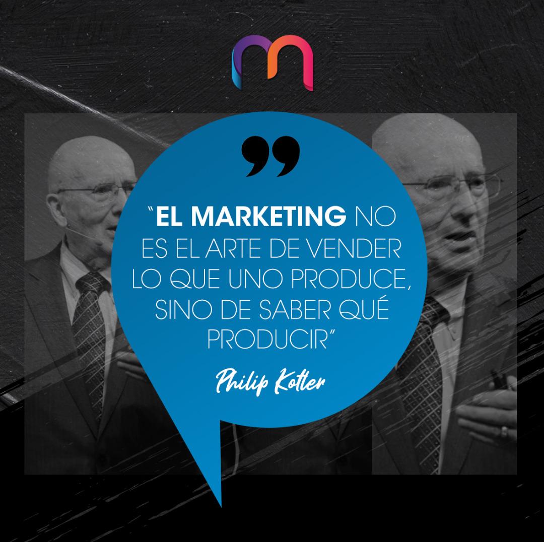"""""""El Marketing no es el arte de vender lo que uno produce, sino de saber qué producir.""""   #philipkotler #marketizate #marketing #marketingdigital #marketingstrategy #marketingtips #publicidad #redessociales #socialmedia #socialmediamarketing #communitymanager #mercadeo #Adwordspic.twitter.com/SDwbMaPj7N"""