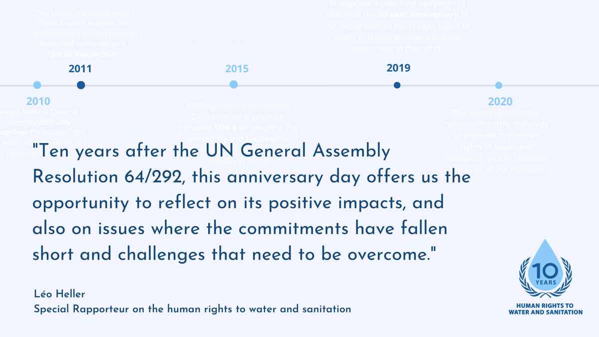 The glass is half-empty and it is also half-full. The anniversary of UNGA Resolution 64/292 marks an opportunity to reflect on the progresses of the last decade, and the challenges that remain to be overcome. See my statement: bit.ly/2EoYIwv
